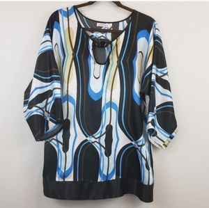 Kaelyn-Max Black, Blue and White Tunic XL